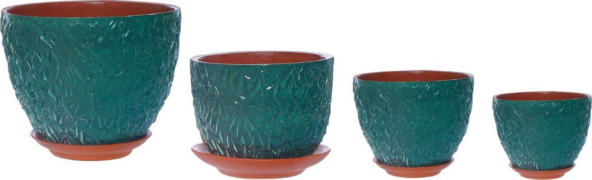 Набор кашпо Льдинка, цвет: лагуна, 4 предмета1267496Комнатные растения — всеобщие любимцы. Они радуют глаз, насыщают помещение кислородом и украшают пространство. Каждому из них необходим свой удобный и красивый дом. Кашпо из керамики прекрасно подходят для высадки растений: за счёт пластичности глины и разных способов обработки существует великое множество форм и дизайновпористый материал позволяет испаряться лишней влагевоздух, необходимый для дыхания корней, проникает сквозь керамические стенки! #name# позаботится о зелёном питомце, освежит интерьер и подчеркнёт его стиль.