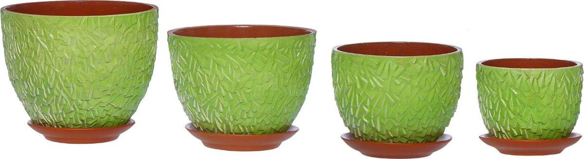 Набор кашпо Льдинка, цвет: лаймовый, 4 предмета1267497Набор кашпо 4 шт. Льдинка лайм (1 сорт) Горшок для цветов 4л,3л,2л,1л 1267497