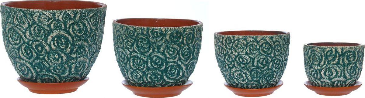 Набор кашпо Розы, цвет: лагуна, 4 предмета1267498Комнатные растения — всеобщие любимцы. Они радуют глаз, насыщают помещение кислородом и украшают пространство. Каждому из них необходим свой удобный и красивый дом. Кашпо из керамики прекрасно подходят для высадки растений: за счёт пластичности глины и разных способов обработки существует великое множество форм и дизайновпористый материал позволяет испаряться лишней влагевоздух, необходимый для дыхания корней, проникает сквозь керамические стенки! #name# позаботится о зелёном питомце, освежит интерьер и подчеркнёт его стиль.