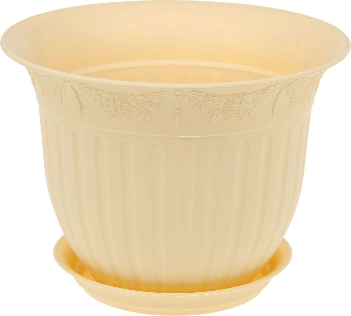 Кашпо JetPlast Виноград, с поддоном, цвет: желтый, 4 л1295416Любой, даже самый современный и продуманный интерьер будет не завершенным без растений.Они не только очищают воздух и насыщают его кислородом, но и заметно украшают окружающее пространство.Такому полезному члену семьи просто необходимо красивое и функциональное кашпо, оригинальный горшок или необычная ваза.Оптимальный выбор материала - это пластмасса! Вы с легкостью перенесете любимое растение с места на место, поставьте его на столики или полки, подвесите под потолок, не беспокоясь о нагрузке.Пластиковые изделия не нуждаются в специальных условиях хранения. Их легко чистить - достаточно просто сполоснуть теплой водой.Пластиковые кашпо не царапают и не загрязняют поверхности, на которых стоят. Пластик дольше хранит влагу, а значит растение реже нуждается в поливе.Пластмасса не пропускает воздух к корневой системе растения, им не грозят резкие перепады температур.Соблюдая нехитрые правила ухода, вы можете заметно продлить срок службы горшков, вазонов и кашпо из пластика: всегда учитывайте размер кроны и корневой системы растения (при разрастании большое растение способно повредить маленький горшок).Чтобы кашпо и горшки не выцветали держите кашпо и горшки из пластика подальше от нагревающихся поверхностей.Создавайте прекрасные цветочные композиции, выращивайте рассаду или необычные растения, а низкие цены позволят вам не ограничивать себя в выборе.