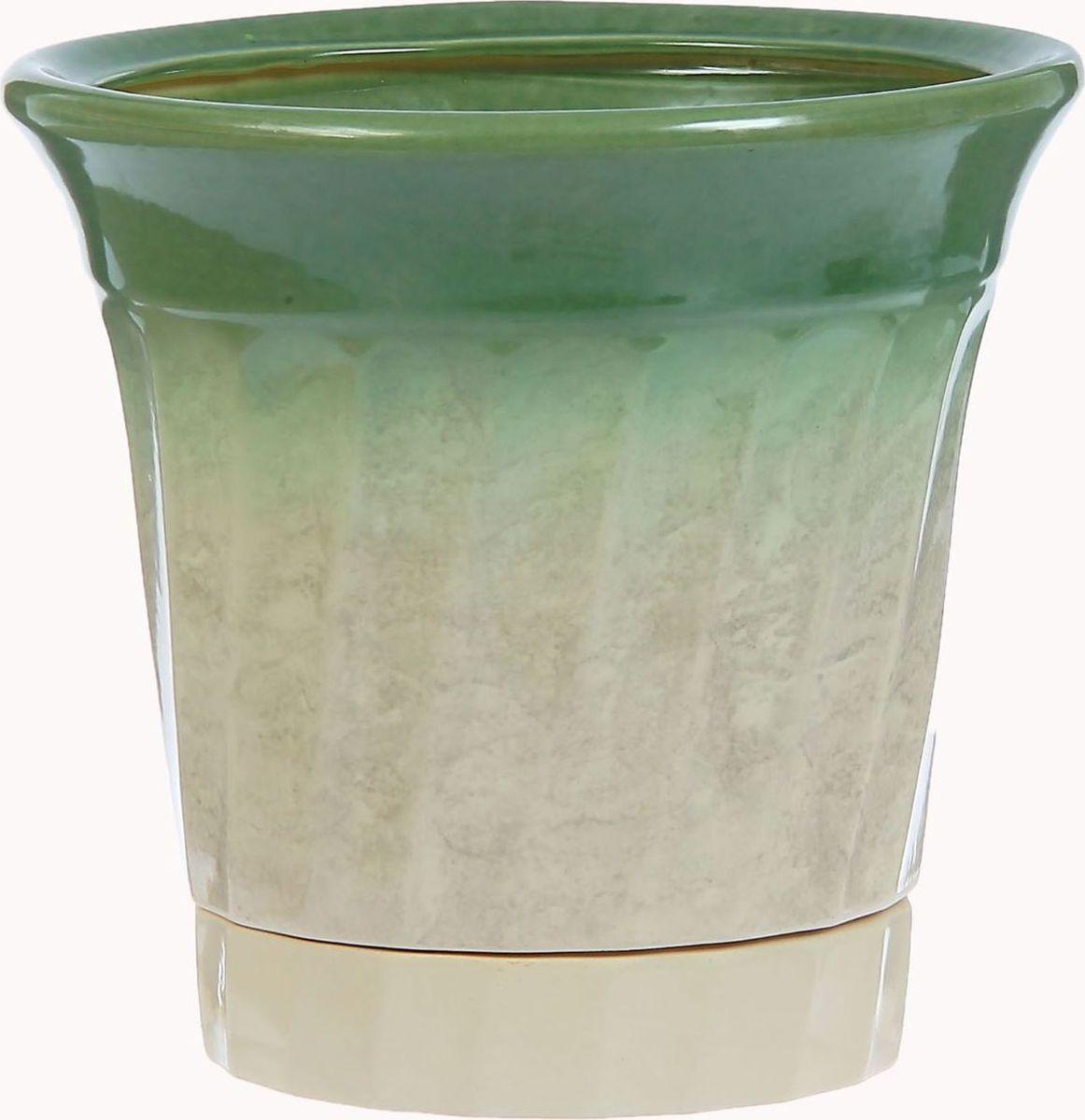Кашпо Волна, цвет: белый, зеленый, 3,5 л1304546Комнатные растения — всеобщие любимцы. Они радуют глаз, насыщают помещение кислородом и украшают пространство. Каждому из них необходим свой удобный и красивый дом. Кашпо из керамики прекрасно подходят для высадки растений: за счёт пластичности глины и разных способов обработки существует великое множество форм и дизайновпористый материал позволяет испаряться лишней влагевоздух, необходимый для дыхания корней, проникает сквозь керамические стенки! #name# позаботится о зелёном питомце, освежит интерьер и подчеркнёт его стиль.