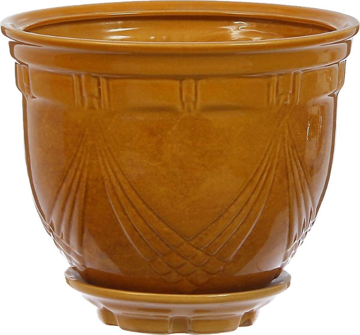 Кашпо Мирида, цвет: горчичный, 5 л1304586Комнатные растения — всеобщие любимцы. Они радуют глаз, насыщают помещение кислородом и украшают пространство. Каждому из них необходим свой удобный и красивый дом. Кашпо из керамики прекрасно подходят для высадки растений: за счёт пластичности глины и разных способов обработки существует великое множество форм и дизайновпористый материал позволяет испаряться лишней влагевоздух, необходимый для дыхания корней, проникает сквозь керамические стенки! #name# позаботится о зелёном питомце, освежит интерьер и подчеркнёт его стиль.