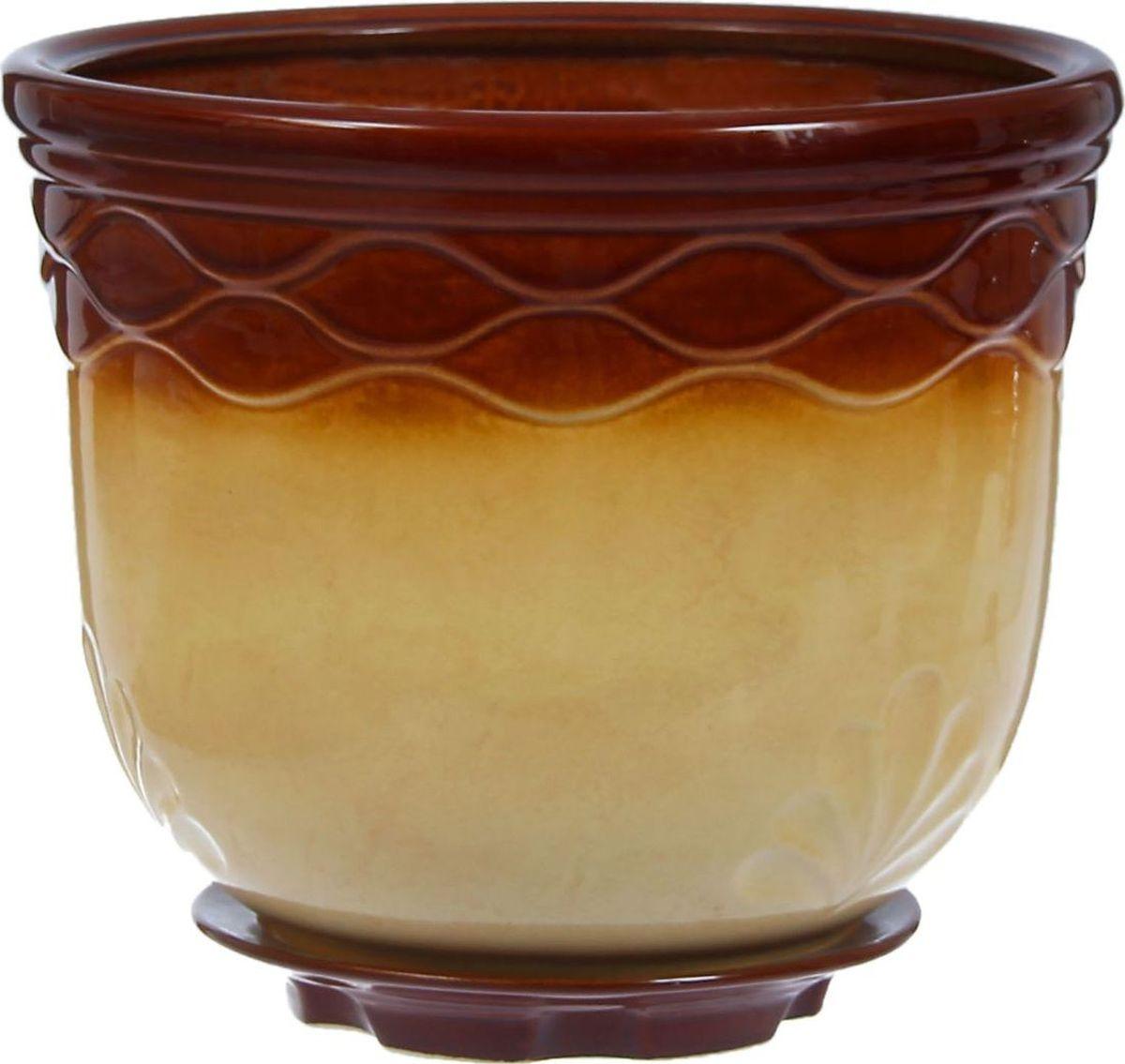Кашпо Неон, цвет: бежевый, коричневый, 11 л1304612