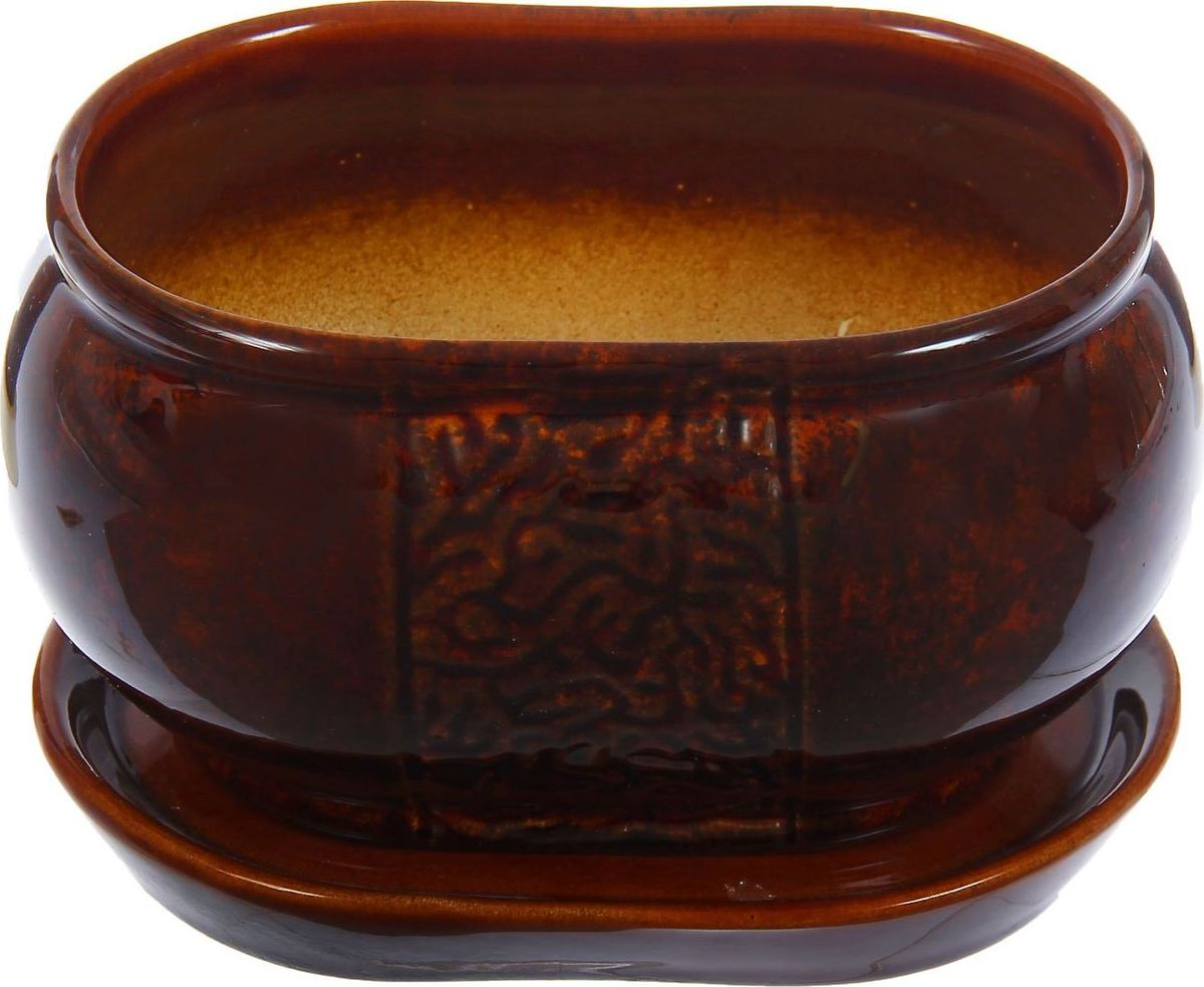 Кашпо Танго, цвет: коричневый, 1,1 л1304657