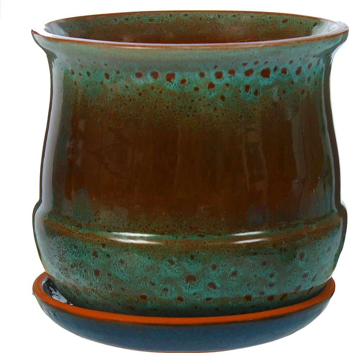Кашпо Азалия, цвет: синий, коричневый, 1,5 л1306564Комнатные растения — всеобщие любимцы. Они радуют глаз, насыщают помещение кислородом и украшают пространство. Каждому из них необходим свой удобный и красивый дом. Кашпо из керамики прекрасно подходят для высадки растений: за счёт пластичности глины и разных способов обработки существует великое множество форм и дизайновпористый материал позволяет испаряться лишней влагевоздух, необходимый для дыхания корней, проникает сквозь керамические стенки! #name# позаботится о зелёном питомце, освежит интерьер и подчеркнёт его стиль.
