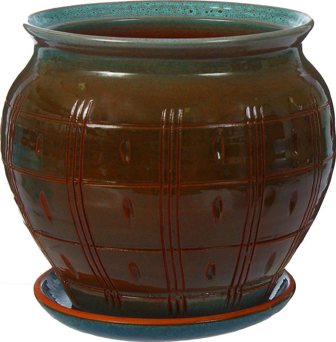 Кашпо Шишка, цвет: синий, коричневый, 2 л1320696Комнатные растения — всеобщие любимцы. Они радуют глаз, насыщают помещение кислородом и украшают пространство. Каждому из них необходим свой удобный и красивый дом. Кашпо из керамики прекрасно подходят для высадки растений: за счёт пластичности глины и разных способов обработки существует великое множество форм и дизайновпористый материал позволяет испаряться лишней влагевоздух, необходимый для дыхания корней, проникает сквозь керамические стенки! #name# позаботится о зелёном питомце, освежит интерьер и подчеркнёт его стиль.