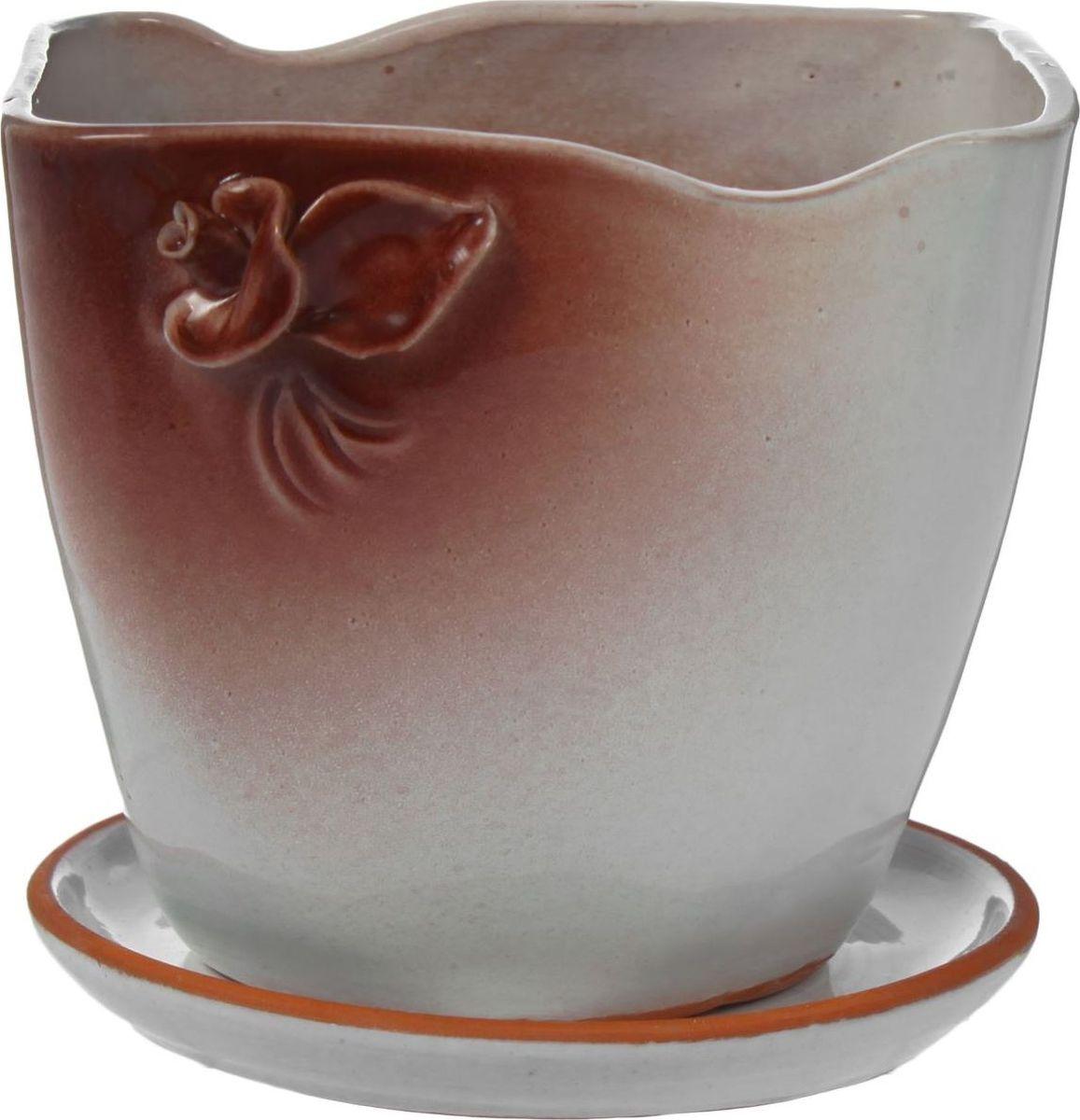 Кашпо Клен, цвет: белый, коричневый, 1 л1320897