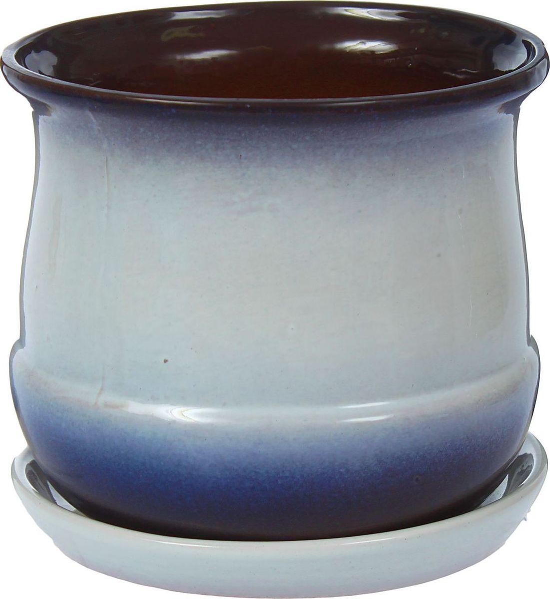 Кашпо Азалия, цвет: синий, белый, 1,5 л1321162Комнатные растения — всеобщие любимцы. Они радуют глаз, насыщают помещение кислородом и украшают пространство. Каждому из них необходим свой удобный и красивый дом. Кашпо из керамики прекрасно подходят для высадки растений: за счёт пластичности глины и разных способов обработки существует великое множество форм и дизайновпористый материал позволяет испаряться лишней влагевоздух, необходимый для дыхания корней, проникает сквозь керамические стенки! #name# позаботится о зелёном питомце, освежит интерьер и подчеркнёт его стиль.