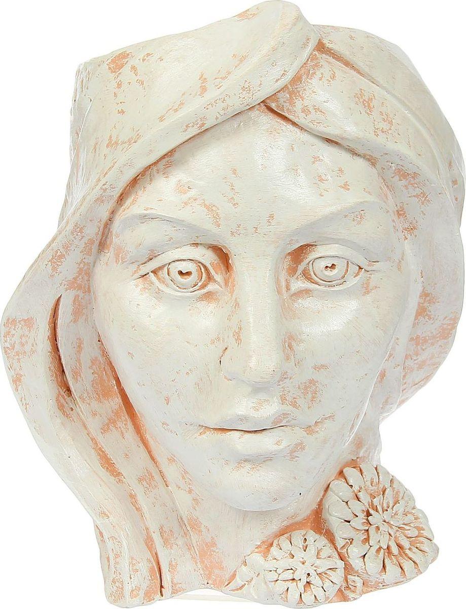 Кашпо Голова женщины, цвет: бежевый, 26 х 24 х 30 см1341803