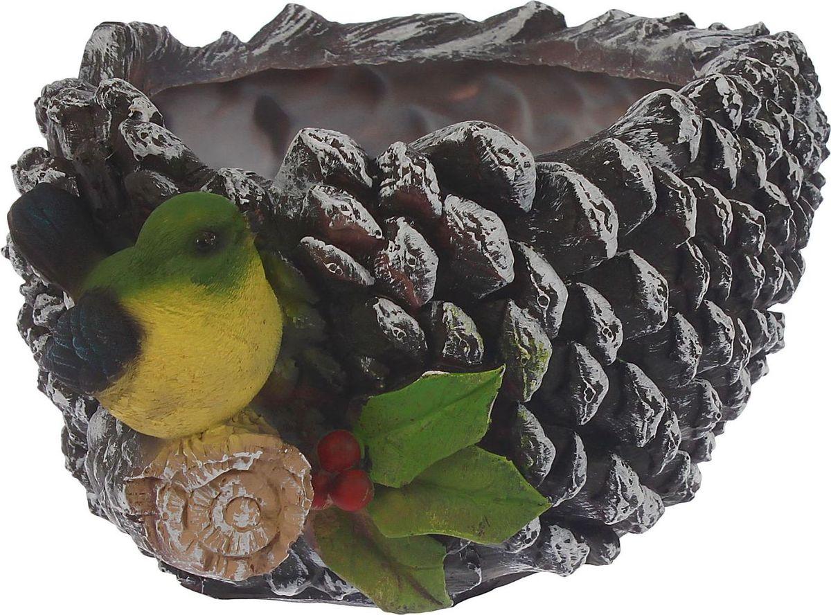 Кашпо Шишка с птичкой, 21 х 24 х 14 см1343742Комнатные растения — всеобщие любимцы. Они радуют глаз, насыщают помещение кислородом и украшают пространство. Каждому из растений необходим свой удобный и красивый дом. Поселите зелёного питомца в яркое и оригинальное фигурное кашпо. Выберите подходящую форму для детской, спальни, гостиной, балкона, офиса или террасы. #name# позаботится о растении, украсит окружающее пространство и подчеркнёт его оригинальный стиль.