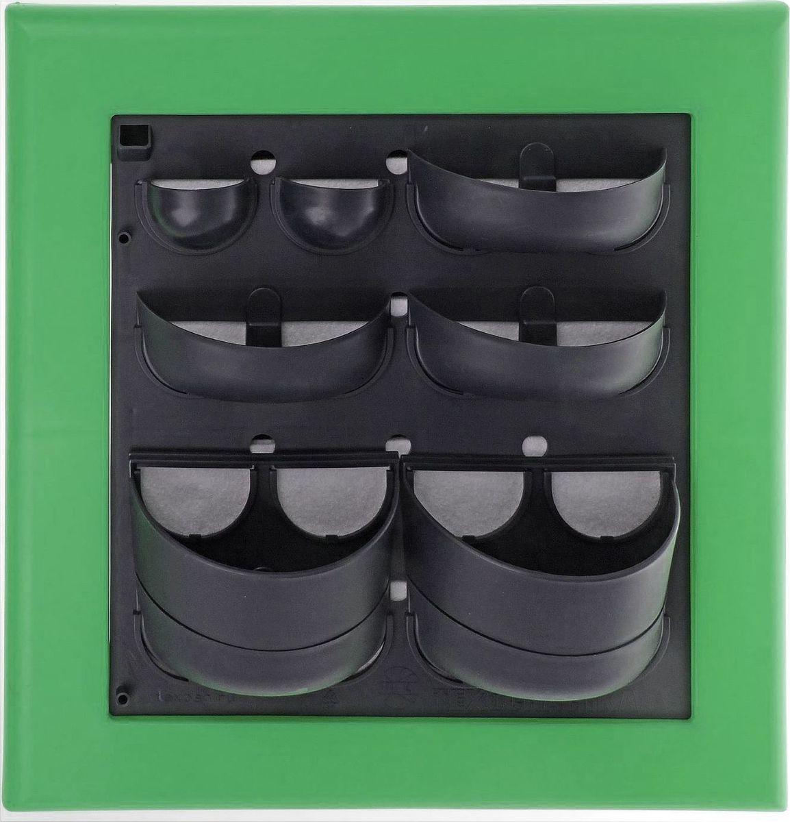 Кашпо Техоснастка Фитокартина, настенное, цвет: зеленый, 59 х 58 х 13 см1363215Любой, даже самый современный и продуманный интерьер не будет выглядеть завершённым без растений. Они не только очищают воздух и насыщают кислородом, но и заметно украшают окружающее пространство. Такому полезному &laquo члену семьи&raquoпросто необходим красивый и функциональный &laquo дом&raquo . Наше предложение &mdashфитокартина! Благодаря съёмным блокам-кашпо вы сможете создать любую композицию на свой вкус. Как собирать? Распакуйте фитопанель, подготовьте необходимое количество растений.Возьмите маленький горшок и разместите в нем водопроводящий картридж (входит в комплект).Разместите подходящее по размеру растение в горшке.Поместите картридж с растением между передней частью панели и капиллярным матом.Закрепите горшок с растением на фитомодуле.Вставив в каждую выемку картридж, закрепите на фитомодуле нижнюю часть большого горшка.Затем так же закрепите верхнюю часть большого горшка строго над нижней.Посадите в большой горшок выбранное растение. Ваша фитокартина готова!Фотоинструкция.Рекомендации по поливу Вставьте в левый нижний угол водоотводящую трубку. Медленно заливайте воду в панно через поливочное отверстие. Как только она покажется в трубке, прекратите полив. Опустив трубку вниз, можно слить ненужную жидкость обратно в лейку. Уберите трубку до следующего орошения. Режим полива зависит от температуры и влажности в помещении, состава грунта, интенсивности освещения, возраста и типа растения и многих других факторов. Частота может варьироваться от 2 до 4 недель. Чтобы растение легко прижилось в новом горшке, рекомендуем первые 3?4 недели производить полив не через трубку, а напрямую в грунт, используя лейку с узким носиком. Создавать красоту просто! Наполните свой дом прекрасными цветами, а мы позаботимся о низкой цене и высоком качестве от российского производителя.&nbsp