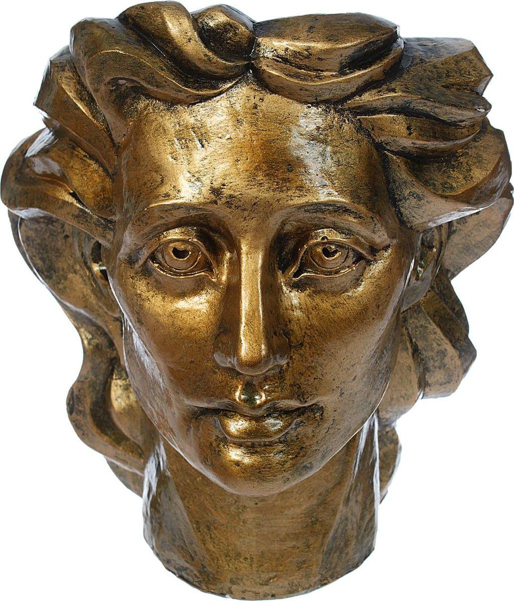Кашпо Голова женщины, цвет: бронзовый, 23 х 27 х 32 см1374809