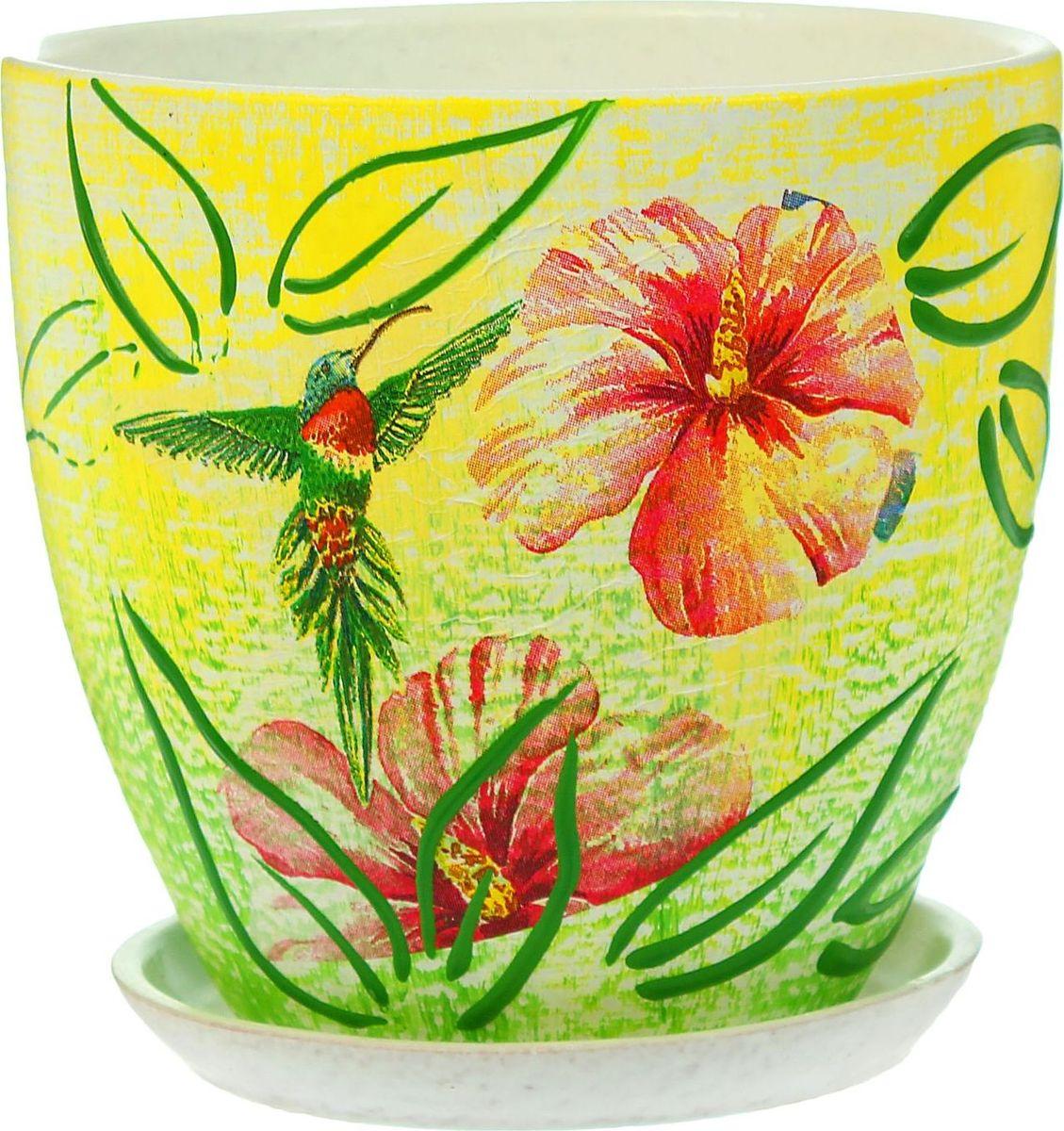 """Комнатные растения — всеобщие любимцы. Они радуют глаз, насыщают помещение кислородом и украшают пространство. Каждому из них необходим свой удобный и красивый дом.Кашпо из керамики прекрасно подходят для высадки растений:- за счёт пластичности глины и разных способов обработки существует великое множество форм и дизайнов;- пористый материал позволяет испаряться лишней влаге;- воздух, необходимый для дыхания корней, проникает сквозь керамические стенки!Кашпо """"Колибри"""" позаботится о зелёном питомце, освежит интерьер и подчеркнёт его стиль."""