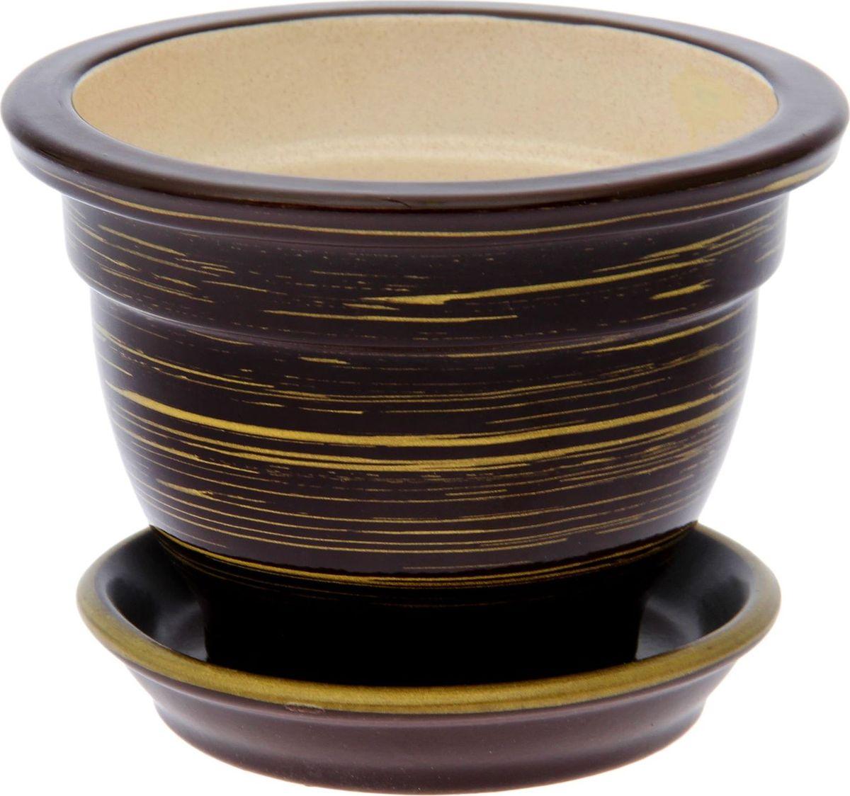 Кашпо Керамика ручной работы Фиалочница, цвет: шоколадный, золотой, 0,5 л1489727Комнатные растения — всеобщие любимцы. Они радуют глаз, насыщают помещение кислородом и украшают пространство. Каждому из них необходим свой удобный и красивый дом. Кашпо из керамики прекрасно подходят для высадки растений: за счёт пластичности глины и разных способов обработки существует великое множество форм и дизайновпористый материал позволяет испаряться лишней влагевоздух, необходимый для дыхания корней, проникает сквозь керамические стенки! #name# позаботится о зелёном питомце, освежит интерьер и подчеркнёт его стиль.