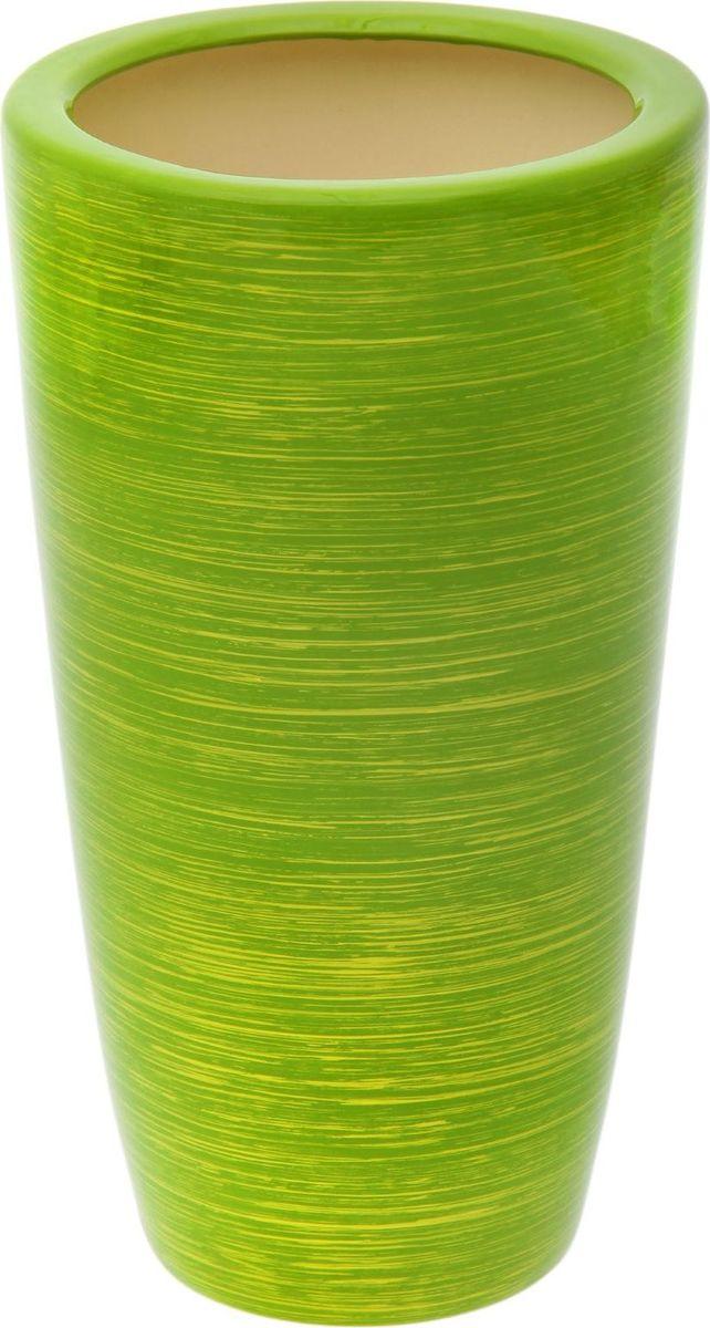Кашпо Керамика ручной работы  Цилиндр , цвет: салатовый, золотой, 17 л -  Садовый декор