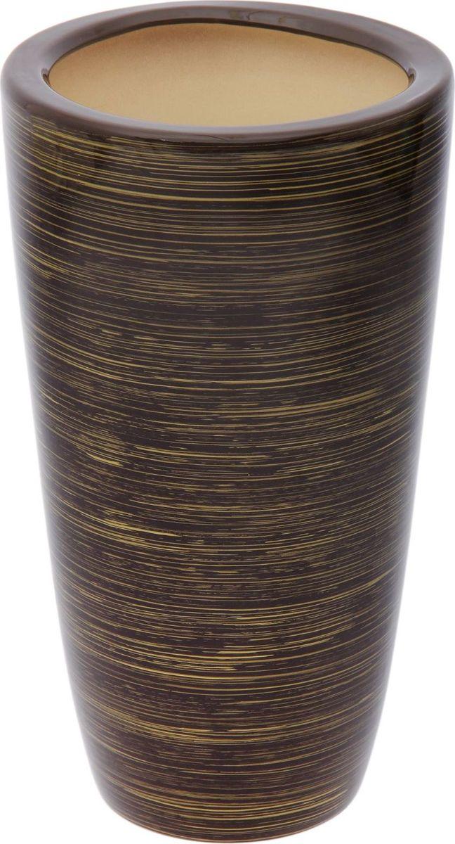 Кашпо Керамика ручной работы Цилиндр, цвет: шоколадный, золотой, 17 л1489731Декоративное кашпо, выполненное из высококачественной керамики, предназначено для посадки декоративных растений и станет прекрасным украшением для дома. Пористый материал позволяет испаряться лишней влаге, а воздух, необходимый для дыхания корней, проникает сквозь керамические стенки. Такое кашпо украсит окружающее пространство и подчеркнет его оригинальный стиль.