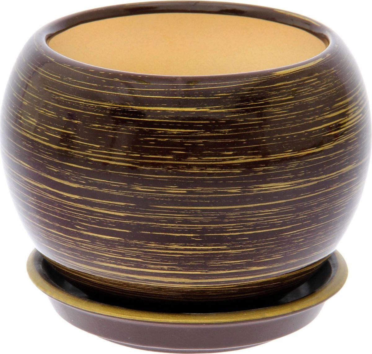 Кашпо Керамика ручной работы Шар, цвет: шоколадный, золотой, 4,1 л1489749Комнатные растения — всеобщие любимцы. Они радуют глаз, насыщают помещение кислородом и украшают пространство. Каждому из них необходим свой удобный и красивый дом. Кашпо из керамики прекрасно подходят для высадки растений: за счёт пластичности глины и разных способов обработки существует великое множество форм и дизайновпористый материал позволяет испаряться лишней влагевоздух, необходимый для дыхания корней, проникает сквозь керамические стенки! #name# позаботится о зелёном питомце, освежит интерьер и подчеркнёт его стиль.