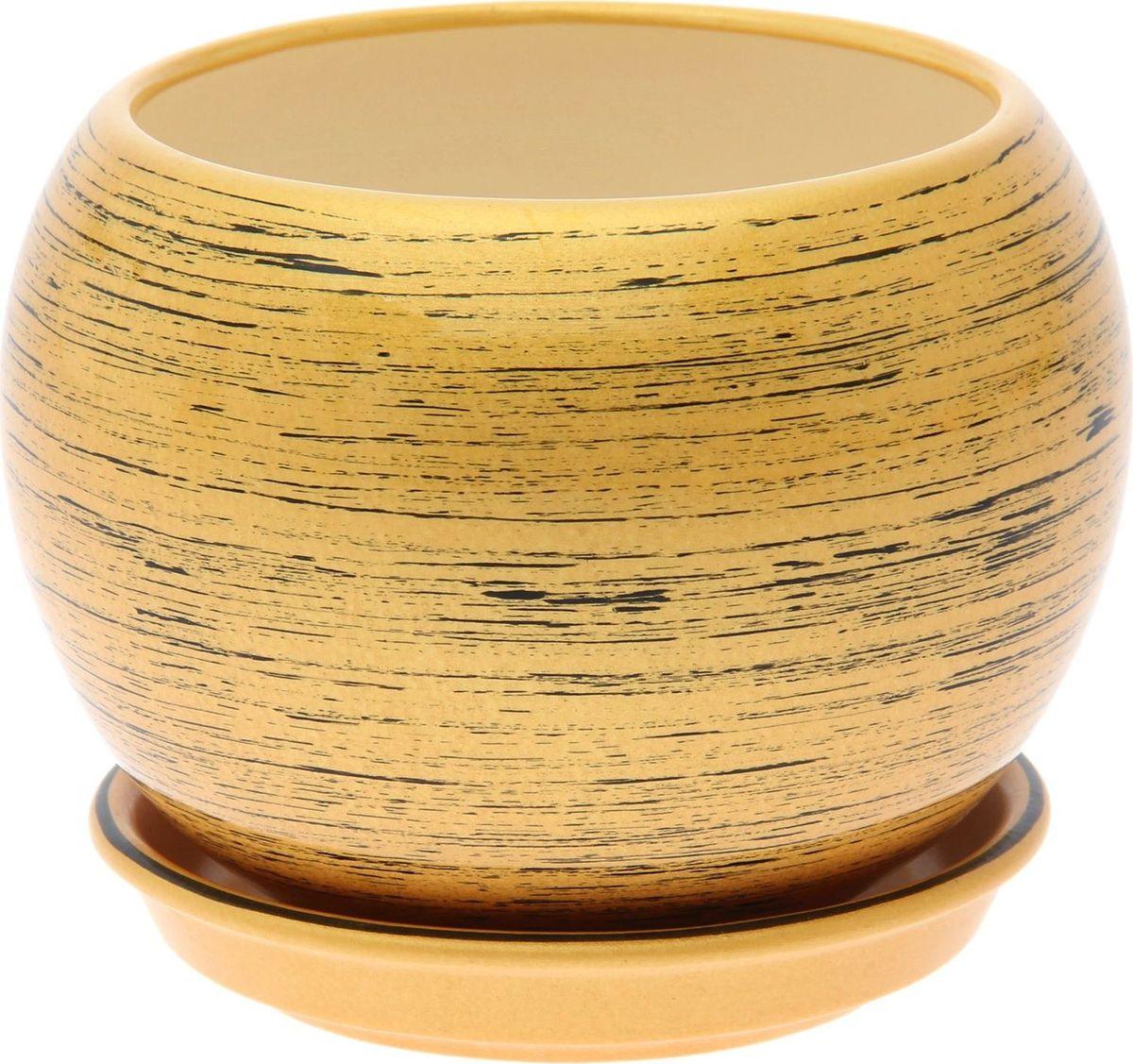 Кашпо Керамика ручной работы Шар, цвет: черный, золотой, 9 л1489751Комнатные растения — всеобщие любимцы. Они радуют глаз, насыщают помещение кислородом и украшают пространство. Каждому из них необходим свой удобный и красивый дом. Кашпо из керамики прекрасно подходят для высадки растений: за счёт пластичности глины и разных способов обработки существует великое множество форм и дизайновпористый материал позволяет испаряться лишней влагевоздух, необходимый для дыхания корней, проникает сквозь керамические стенки! #name# позаботится о зелёном питомце, освежит интерьер и подчеркнёт его стиль.