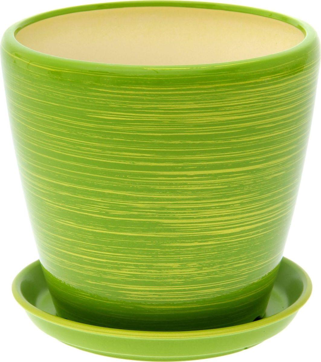 Кашпо Керамика ручной работы Грация, цвет: салатовый, золотистый, 4,5 л1497840Комнатные растения — всеобщие любимцы. Они радуют глаз, насыщают помещение кислородом и украшают пространство. Каждому из них необходим свой удобный и красивый дом. Кашпо из керамики прекрасно подходят для высадки растений: за счет пластичности глины и разных способов обработки существует великое множество форм и дизайнов пористый материал позволяет испаряться лишней влаге воздух, необходимый для дыхания корней, проникает сквозь керамические стенки! позаботится о зеленом питомце, освежит интерьер и подчеркнет его стиль.