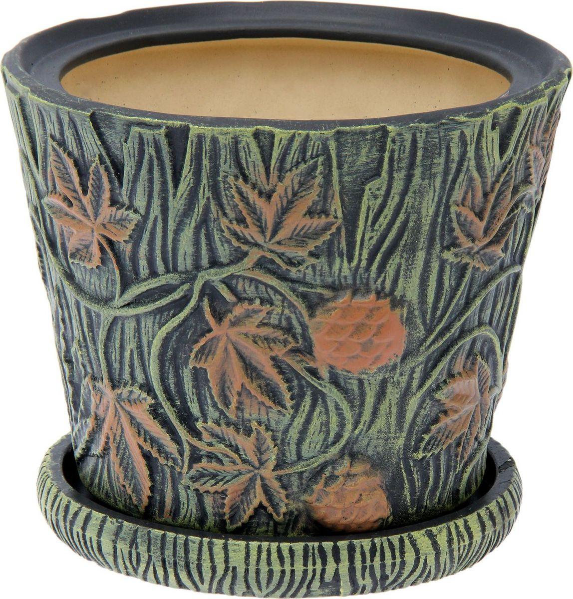 Кашпо Керамика ручной работы Хмель, цвет: зеленый, 3 л1516295Комнатные растения — всеобщие любимцы. Они радуют глаз, насыщают помещение кислородом и украшают пространство. Каждому из них необходим свой удобный и красивый дом. Кашпо из керамики прекрасно подходят для высадки растений: за счет пластичности глины и разных способов обработки существует великое множество форм и дизайнов пористый материал позволяет испаряться лишней влаге воздух, необходимый для дыхания корней, проникает сквозь керамические стенки! позаботится о зеленом питомце, освежит интерьер и подчеркнет его стиль.