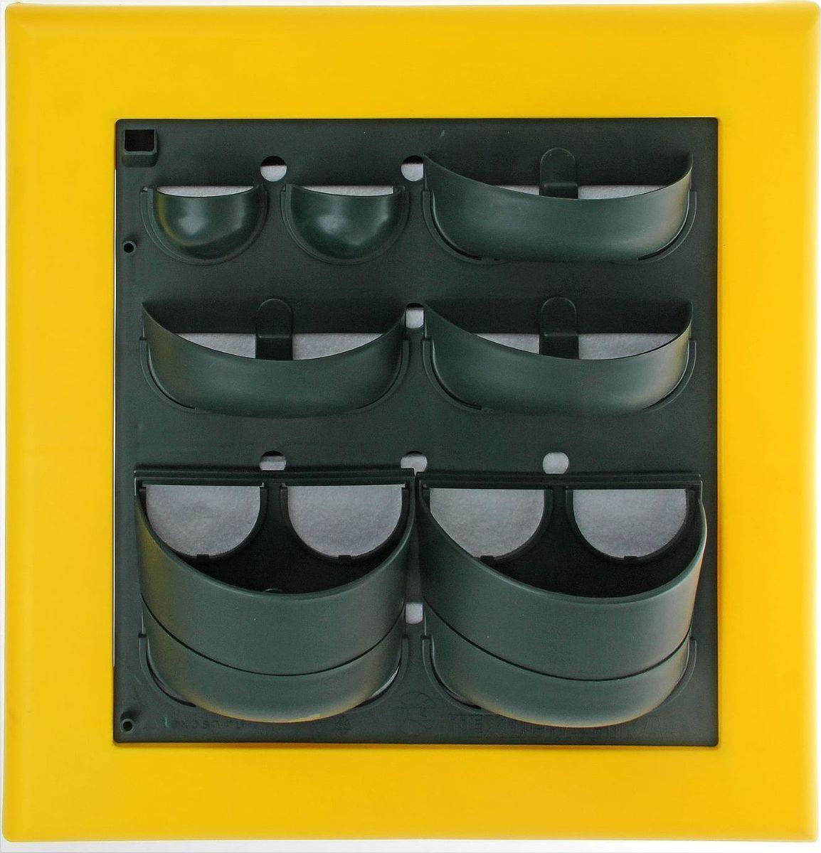 Кашпо Техоснастка Фитокартина, настенное, цвет: желтый, 59 х 58 х 13 см1533176Любой, даже самый современный и продуманный интерьер не будет выглядеть завершённым без растений. Они не только очищают воздух и насыщают кислородом, но и заметно украшают окружающее пространство. Такому полезному &laquo члену семьи&raquoпросто необходим красивый и функциональный &laquo дом&raquo . Наше предложение &mdashфитокартина! Благодаря съёмным блокам-кашпо вы сможете создать любую композицию на свой вкус. Как собирать? Распакуйте фитопанель, подготовьте необходимое количество растений.Возьмите маленький горшок и разместите в нем водопроводящий картридж (входит в комплект).Разместите подходящее по размеру растение в горшке.Поместите картридж с растением между передней частью панели и капиллярным матом.Закрепите горшок с растением на фитомодуле.Вставив в каждую выемку картридж, закрепите на фитомодуле нижнюю часть большого горшка.Затем так же закрепите верхнюю часть большого горшка строго над нижней.Посадите в большой горшок выбранное растение. Ваша фитокартина готова!Фотоинструкция.Рекомендации по поливу Вставьте в левый нижний угол водоотводящую трубку. Медленно заливайте воду в панно через поливочное отверстие. Как только она покажется в трубке, прекратите полив. Опустив трубку вниз, можно слить ненужную жидкость обратно в лейку. Уберите трубку до следующего орошения. Режим полива зависит от температуры и влажности в помещении, состава грунта, интенсивности освещения, возраста и типа растения и многих других факторов. Частота может варьироваться от 2 до 4 недель. Чтобы растение легко прижилось в новом горшке, рекомендуем первые 3?4 недели производить полив не через трубку, а напрямую в грунт, используя лейку с узким носиком. Создавать красоту просто! Наполните свой дом прекрасными цветами, а мы позаботимся о низкой цене и высоком качестве от российского производителя.&nbsp