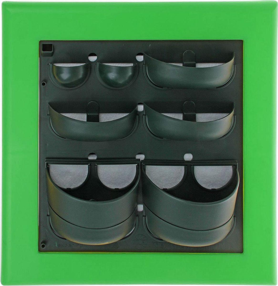 Кашпо Техоснастка Фитокартина, настенное, цвет: зеленый, 59 х 58 х 13 см1533688Любой, даже самый современный и продуманный интерьер не будет выглядеть завершённым без растений. Они не только очищают воздух и насыщают кислородом, но и заметно украшают окружающее пространство. Такому полезному &laquo члену семьи&raquoпросто необходим красивый и функциональный &laquo дом&raquo . Наше предложение &mdashфитокартина! Благодаря съёмным блокам-кашпо вы сможете создать любую композицию на свой вкус. Как собирать? Распакуйте фитопанель, подготовьте необходимое количество растений.Возьмите маленький горшок и разместите в нем водопроводящий картридж (входит в комплект).Разместите подходящее по размеру растение в горшке.Поместите картридж с растением между передней частью панели и капиллярным матом.Закрепите горшок с растением на фитомодуле.Вставив в каждую выемку картридж, закрепите на фитомодуле нижнюю часть большого горшка.Затем так же закрепите верхнюю часть большого горшка строго над нижней.Посадите в большой горшок выбранное растение. Ваша фитокартина готова!Фотоинструкция.Рекомендации по поливу Вставьте в левый нижний угол водоотводящую трубку. Медленно заливайте воду в панно через поливочное отверстие. Как только она покажется в трубке, прекратите полив. Опустив трубку вниз, можно слить ненужную жидкость обратно в лейку. Уберите трубку до следующего орошения. Режим полива зависит от температуры и влажности в помещении, состава грунта, интенсивности освещения, возраста и типа растения и многих других факторов. Частота может варьироваться от 2 до 4 недель. Чтобы растение легко прижилось в новом горшке, рекомендуем первые 3?4 недели производить полив не через трубку, а напрямую в грунт, используя лейку с узким носиком. Создавать красоту просто! Наполните свой дом прекрасными цветами, а мы позаботимся о низкой цене и высоком качестве от российского производителя.&nbsp