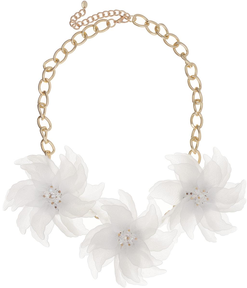 Колье Taya, цвет: золотистый, белый. T-B-13230Колье (короткие одноярусные бусы)Три матовых полупрозрачных цветка с острыми лепестками составляют нежнейшую летнюю композицию. Каждый лепесток плавно изогнут, видны все мельчайшие прожилки. Размеры: длина изделия 47 см + удлинение 7,5 см, каждый цветок диаметром 8,0 см.