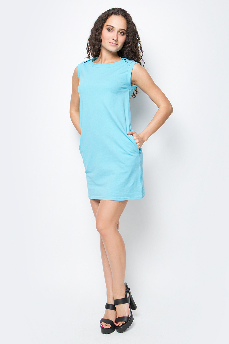 Платье oodji Ultra, цвет: бирюзовый. 14005074-1B/46149/7300N. Размер XXS (40-170)