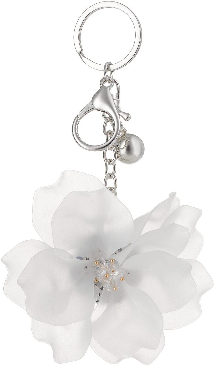 Брелок Taya, цвет: серебристый, белый. T-B-13260Бижутерный сплавКрупный многоярусный махровый цветок с застежкой на карабин и с кольцом для ключей. Размеры: диаметр цветка 9,0 см, длина цепи 6,5 см.