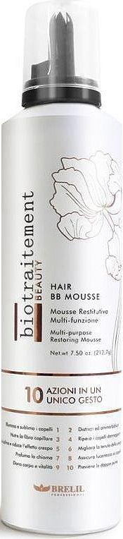 Brelil Hair ВВ Mousse Мусс с эффектом кондиционирования и восстановления всех типов волос 250 млCHPCHP.CLAY.YHair BB Mousse - это мусс для лечения, восстановления и реструктуризация волос! Он оживляет волосы, распутывает и смягчает их, питает, восстанавливает, делает послушными. Улучшает стиль волос, придает им приятный аромат и эластичность. Помогает держать прическе объем и форму. Борется с сечением кончиков.