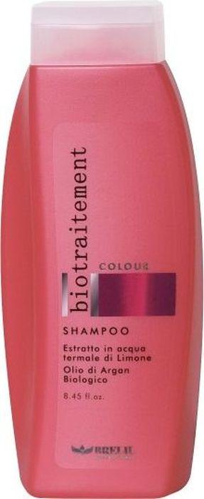 Brelil Bio Traitement Colour Shampoo Шампунь для окрашенных волос 250 млB064045Brelil Bio Traitement Colour Shampoo Шампунь для окрашенных волос за максимально короткое время обеспечивает восстановление повреждённых и ослабленных волос после химического воздействия и осуществляет сохранение и поддержание интенсивности их цвета. Средство отлично очищает волосы от загрязнений и пыли и замечательно подходит для ухода за окрашенными волосами в любом месте в душном городе или, например, на курорте. Шампунь разработан на основе специальной формулы, содержащей экстракт лимона и масло арганы, благодаря которым волосы приобретают прекрасный здоровый блеск, становятся мягкими, послушными и шелковистыми. Шампунь Брелил Colour Shampoo надолго сохраняет цвет окрашенных волос, не содержит вредные вещества и подходит для регулярного ухода за окрашенными волосами.