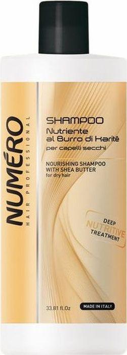 Brelil Numero Shea Butter Шампунь с маслом карите для сухих волос 1000 млB080086Питательный шампунь интенсивно восстанавливает структуру, оздоравливает сухие, тусклые, повреждённые химической обработкой волосы, дисциплинирует волосяное волокно, убирая неэстетичный эффект распушивания. После применения волосы приобретают мгновенный блеск, мягкость и увлажнение.