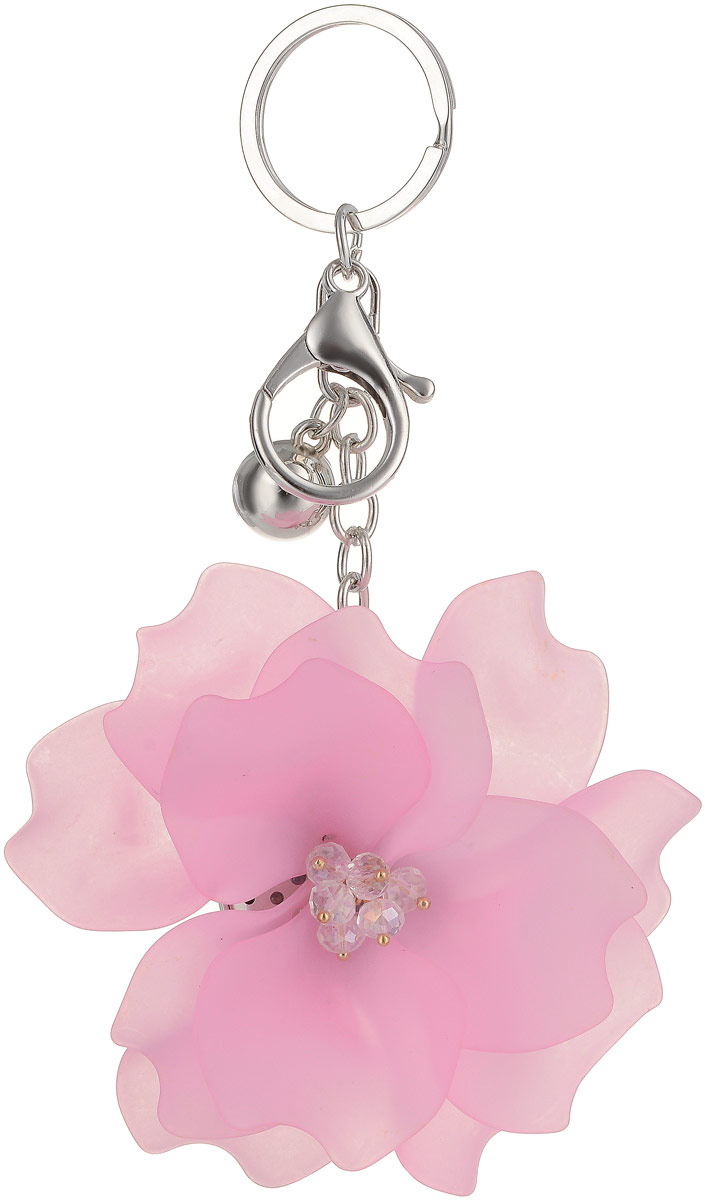 Брелок Taya, цвет: серебристый, розовый. T-B-13263Бижутерный сплавКрупный многоярусный махровый цветок с застежкой на карабин и с кольцом для ключей. Размеры: диаметр цветка 9,0 см, длина цепи 6,5 см.