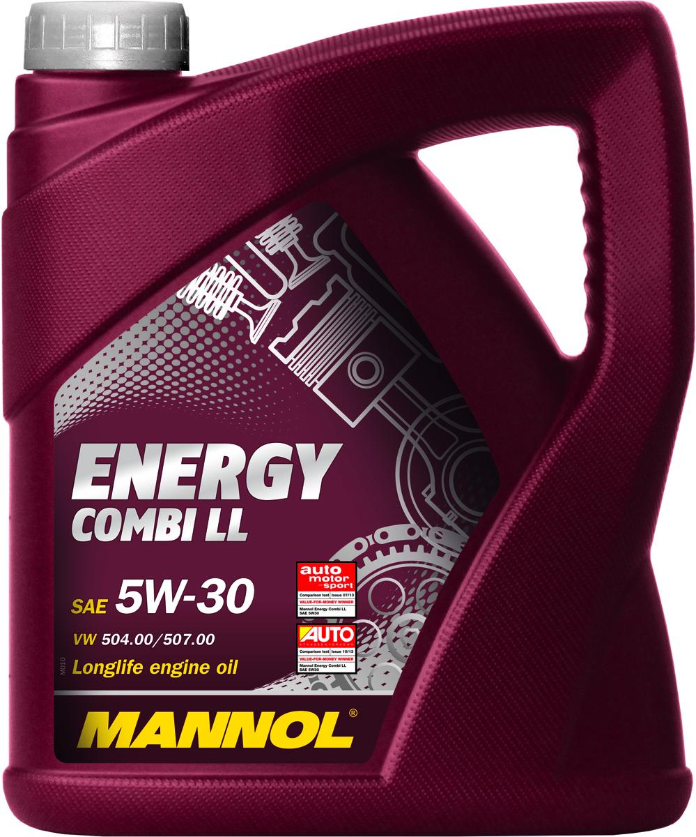 Масло моторное MANNOL Energy Combi LL, 5W-30, синтетическое, 4 л1031Моторное масло MANNOL Energy Combi LL - всесезонное синтетическое моторное масло, разработанное для современных бензиновых и турбодизельных двигателей с насос-форсунками. Обеспечивает высокую прокачиваемость при холодном старте. Обладает оптимальной вязкостью в широком диапазоне температур. Эффективно защищает от износа и обеспечивает исключительную чистоту деталей двигателя. Применяется в двигателях с увеличенным интервалом замены масла (Long Life) и без него. Кроме двигателей VW PDU без сервиса LongLife (WIV)**Кроме двигателей V10 DPU в модели Phaeton до февраля 2006 и двигателей R5 PDU в модели Touareg до декабря 2006. Допуски и соответствия ACEA C3, VW 504.00/507.00, MB 229.51, BMW Longlife-04. Вязкость при -30°C: 6500 CP.Вязкость при 100°C: 11,22 CSt. Вязкость при 40°C: 67,52 CSt. Индекс вязкости: 160. Плотность при 15°C: 845 kg/m3. Температура вспышки COC: 224 °C. Температура застывания: -48 °C. Щелочное число: 6,06 gKOH/kg. Товар сертифицирован.