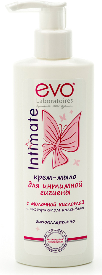 Evo Крем-мыло для интимной гигиены, 200 мл35550900Обеспечивает нежное очищение и деликатный уход за интимной зоной.Содержит масло миндаля, аллантоин, экстракты целебных трав и молочную кислоту. Мягкая формула с молочной кислотой не содержит щелочного мыла, деликатно очищает, сохраняет естественный уровень pH кожи и предотвращает раздражение и сухость. Крем-мыло для интимной гигиены «evo» гарантирует свежесть и комфорт в течение всего дня. Рекомендовано врачами-гинекологами и дерматолагами для ежедневной интимной гигиены женщин любого возраста. Добровольная клиническая апробация на базе ООО НПЦ КосмоПродТест под контролем специалистов ФГБУ НИИ МТ Российской академии медицинских наук.