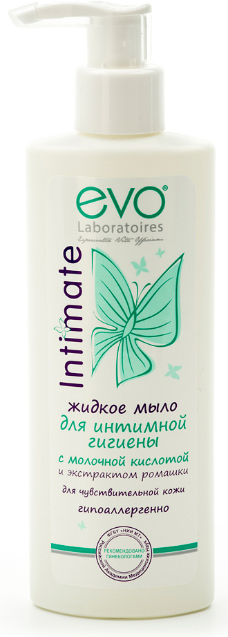 Evo Жидкое мыло для интимной гигиены для чувствительной кожи, 200 мл35550910Специально разработан для ухода за нежной и чувствительной кожей интимных зон. Содержит специальный активный комплекс для поддержания здоровья кожи. Мягкая формула с молочной кислотой не содержит щелочного мыла, деликатно очищает, сохраняет естественный уровень pH кожи и предотвращает раздражение и сухость. Жидкое мыло для интимной гигиены для интимной гигиены evo дарит ощущение комфорта, мягкости и чистоты на весь день. Рекомендовано врачами-гинекологами и дерматолагами для ежедневной интимной гигиены женщин любого возраста.Добровольная клиническая апробация на базе ООО НПЦ КосмоПродТест под контролем специалистов ФГБУ НИИ МТ Российской академии медицинских наук.