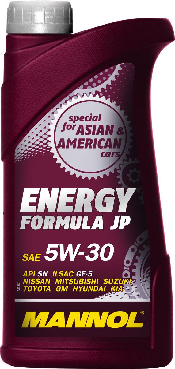 Масло моторное MANNOL Energy Formula JP, 5W-30, синтетическое, 1 л1059Моторное масло MANNOL Energy Formula JP – универсальное моторное масло предназначенное для двигателей японских, корейских и американских легковых автомобилей, минивэнов, внедорожников, SUV и микроавтобусов. Разработано специально для двигателей с системами непосредственного впрыска (GDI, D-4D, NEO-DI), с турбонаддувом, а также с различными механизмами изменения фаз газораспределения (DOHC, VVT-i, VTC, CVVT, VTEC, VVL, VVTL-i, MIVEC и др). Обладает высокими антиокислительными свойствами и превосходными моюще-диспергирующими характеристиками, что предупреждает образование отложений на деталях двигателя. Современный пакет присадок гарантирует прочную смазочную пленку в самых жестких условиях эксплуатации. Обеспечивает легкий пуск двигателя при низких температурах. Допуски и соответствия ILSAC GF-5, GM dexos 1.Вязкость при -30°C: 5420 CP.Вязкость при 100°C: 11,4 CSt. Вязкость при 40°C: 67,2 CSt. Индекс вязкости: 164. Плотность при 15°C: 850 kg/m3. Температура вспышки COC: 224 °C. Температура застывания: -42 °C. Щелочное число: 8,12 gKOH/kg. Товар сертифицирован.
