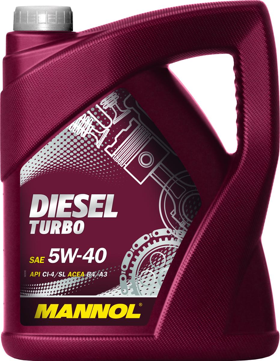 Моторное масло MANNOL Diesel Turbo, 5W-40, API CI-4/SL, синтетическое, 5 л1011Mannol Diesel Turbo 5W40 - всесезонное моторное масло, разработанное для современных высокофорсированных турбодизельных инжекторных двигателей. Обеспечивает высокую прокачиваемость при холодном старте. Обладает оптимальной вязкостью в широком диапазоне температур. Эффективно защищает от износа. Обеспечивает исключительную чистоту деталей двигателя. Применимо также для бензиновых двигателей.Допуски и соответствия ACEA B4/A3, VW 502.00/505.00
