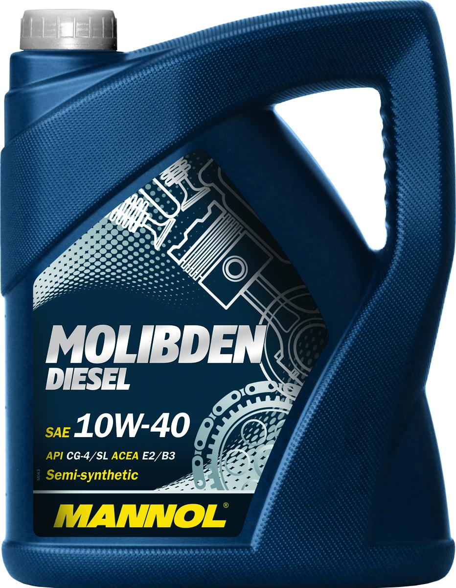 Масло моторное MANNOL Molibden Diesel, 10W-40, полусинтетическое, 5 л1126Моторное масло Mannol Molibden Diesel - всесезонное полусинтетическое моторное масло, предназначенное для использования в тяжелонагруженных дизельных двигателях. Эффективно снижает износ на всех режимах работы двигателя за счет формирования на сопряженных поверхностях трения уникальной защитной пленки, выдерживающей экстремальные нагрузки. Исключает задир. Обладает оптимальными низкотемпературными характеристиками. Эффективно снижает саже- и нагарообразование.Допуски и соответствия ACEA E2/B3.Вязкость при -25°C: 7000 CP. Вязкость при 100°C: 13,6 CSt. Вязкость при 40°C: 94,2 CSt. Индекс вязкости: 146. Плотность при 15°C: 878 kg/m3. Температура вспышки COC: 226 °C. Температура застывания: -30 °C. Щелочное число: 8 gKOH/kg. Товар сертифицирован.