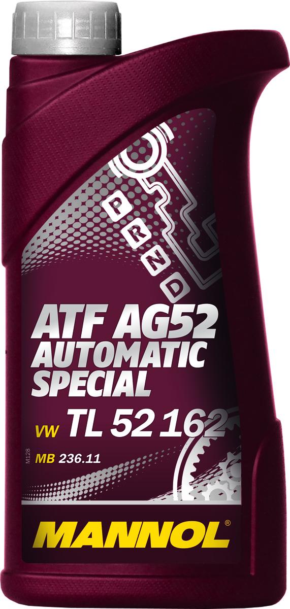 Масло трансмиссионное MANNOL ATF AG52 Automatic Special, синтетическое, 1 л1339Трансмиссионное масло MANNOL ATF AG52 Automatic Special – высококачественное, частично синтетическое трансмиссионное масло, обеспечивающее долгую и надежную работу автоматических коробок передач нового поколения типа MULTITRONIC, STEPTRONIC и TIPTRONIC. Предназначена для автоматических коробок передач автомобилей VW и Audi согласно специальным требованиям VW TL 52 162. Уникальные эксплуатационные свойства обеспечиваются применением высокоочищенных базовых масел, синтетических компонентов и новейшей современной технологии присадок. Продукт имеет допуски / соответствует спецификациям / продуктам: BMW 832 29 407 807, JAGUAR JLM 202 38, MB 236.11. PORSCHE 999.917.547.00, VW TL 52 162.Вязкость при 100°C: 7,4 CSt.Вязкость при 40°C: 36,7 CSt.Индекс вязкости: 173.Плотность при 15°C: 850 kg/m3. Температура вспышки COC: 166 °C.Товар сертифицирован.