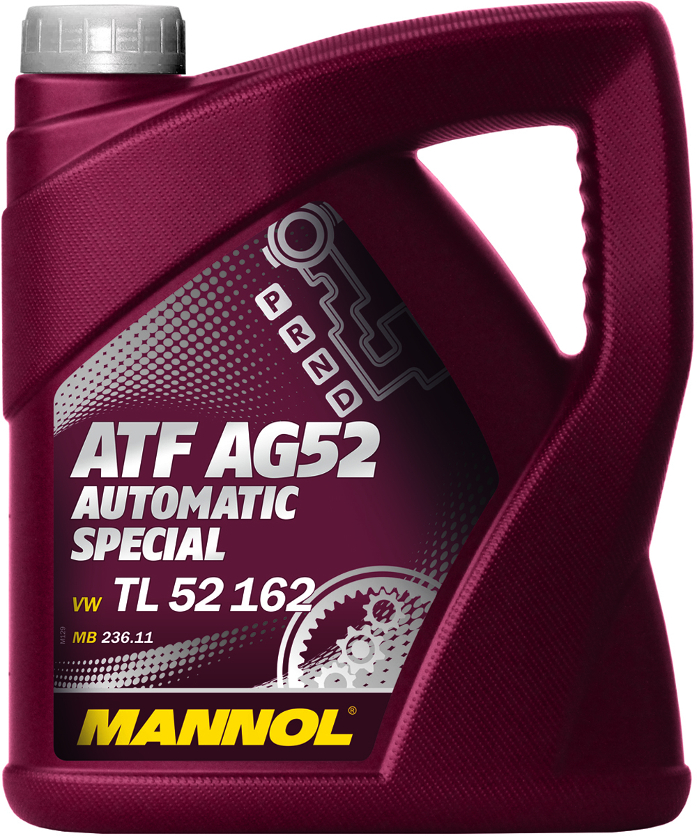 Масло трансмиссионное MANNOL ATF AG52 Automatic Special, синтетическое, 4 л1358Трансмиссионное масло MANNOL ATF AG52 Automatic Special - высококачественное, частично синтетическое трансмиссионное масло, обеспечивающее долгую и надежную работу автоматических коробок передач нового поколения типа MULTITRONIC, STEPTRONIC и TIPTRONIC. Предназначена для автоматических коробок передач автомобилей VW и Audi согласно специальным требованиям VW TL 52 162. Уникальные эксплуатационные свойства обеспечиваются применением высокоочищенных базовых масел, синтетических компонентов и новейшей современной технологии присадок. Продукт имеет допуски / соответствует спецификациям / продуктам: BMW 832 29 407 807, JAGUAR JLM 202 38, MB 236.11. PORSCHE 999.917.547.00, VW TL 52 162.Вязкость при 100°C: 7,4 CSt.Вязкость при 40°C: 36,7 CSt.Индекс вязкости: 173.Плотность при 15°C: 850 kg/m3. Температура вспышки COC: 166 °C.Товар сертифицирован.