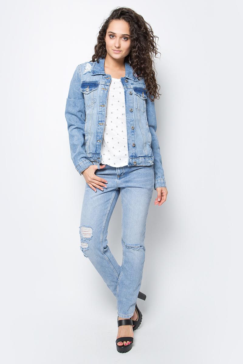 Куртка джинсовая женская Tom Tailor Denim, цвет: голубой. 3533363.00.71_1051. Размер S (44) платье tom tailor denim цвет черный 5019540 01 71 2999 размер s 44