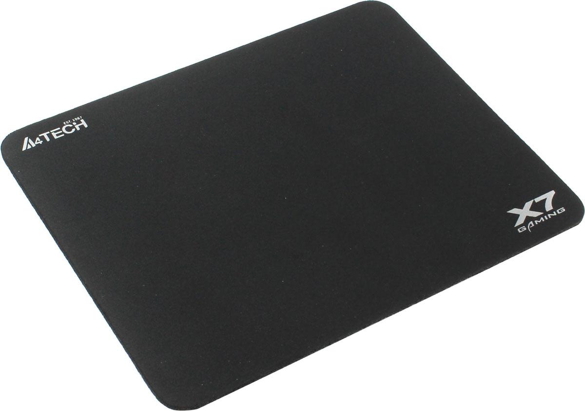 A4Tech X7-200MP, Black игровой коврик для мышиX7-200MPКоврик для мышки A4Tech X7 изготовлен из особой высококачественной ткани, он имеет специальноразработанную и нескользящую резиновую основу.Игровой коврик A4Tech X7 хорошо прилегает к рабочему столу, приятен на ощупь и обеспечивает лучшуюуправляемость мыши при абсолютно любой ее чувствительности. При этом площадь обеспечивает свободудействий, а также точность движений. Это прекрасный выбор для тех игроков, кто хочет иметь по-настоящемукачественный матерчатый коврик, который бы долгое время сохранял свои характеристики, а также внешний вид.