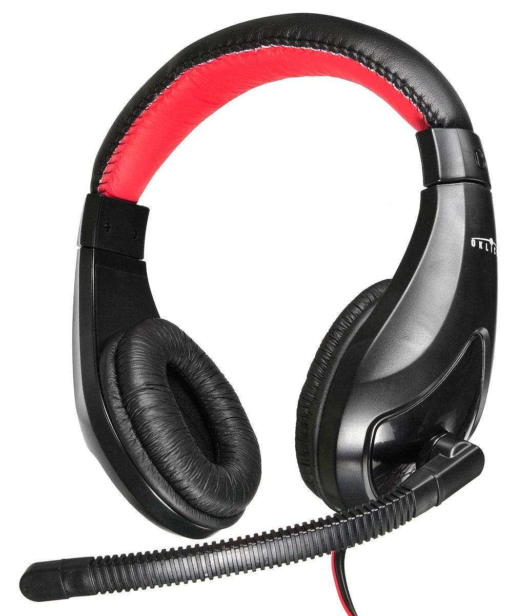 Oklick HS-L100, Black Red компьютерная гарнитураHS-L100Совместимые со всеми современными устройствами, которые оснащены разъемом 3,5 мм, наушники с микрофоном Oklick HS-L100 обеспечат вам комфортное прослушивание музыки, просмотр фильмов, подойдут для сетевых игр, а также голосового общения в сети Интернет и по телефону. Длина кабеля обеспечит удобство при использовании гарнитуры и со стационарной, и с портативной техникой. Мощности динамиков, встроенных в наушники с микрофоном Oklick HS-L100, достаточно для воспроизведения качественного звука. Плотно прилегающие к ушам мягкие амбушюры данной модели обеспечивают отличную шумоизоляцию и не создают ощущения дискомфорта. Для максимального удобства пользователя имеется возможность регулировать положение микрофона относительно рта, а также громкость воспроизводимого звука, для чего на кабель вынесен удобный регулятор.