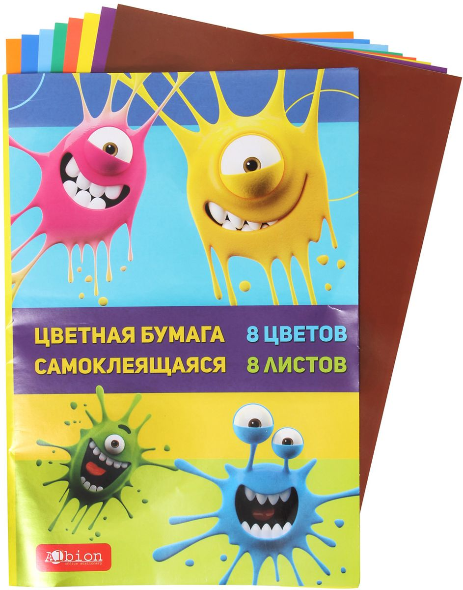 Veld-co Цветная бумага самоклеящаяся 8 листов 8 цветов artspace бумага цветная самоклеящаяся 10 листов 10 цветов