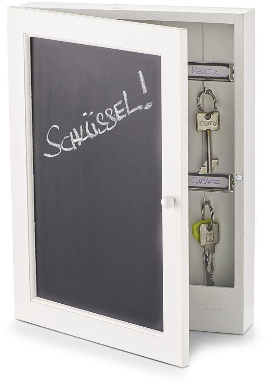 Ящик для ключей Zeller, 22 х 5 х 30 см. 1512415124Ящик для ключей Zeller выполнен из дерева, выкрашен в белый цвет, дверца - в черный. Предназначен для хранения 10 ключей. Он позволит вам надежно хранить ключи и быстро находить их.