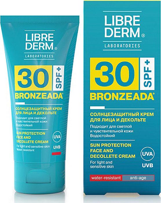 Librederm Bronzeada Крем для лица и зоны декольте солнцезащитный SPF 30, 50 мл8032568-302236Солнцезащитный крем для лица и декольте с солнцезащитным фактором 30, защищает кожу от губительного воздействия солнечных лучей.