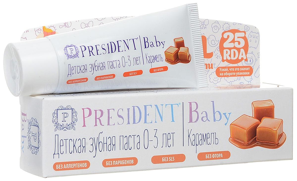President Baby Caramel от 0 до 3 лет детская зубная паста со вкусом карамели (без фтора), 30мл18014Гелевая структура обеспечивает деликатный уход за деснами и молочными зубами с первых дней жизни, безопасно удаляет налет (RDA 25). Со вкусом карамели.