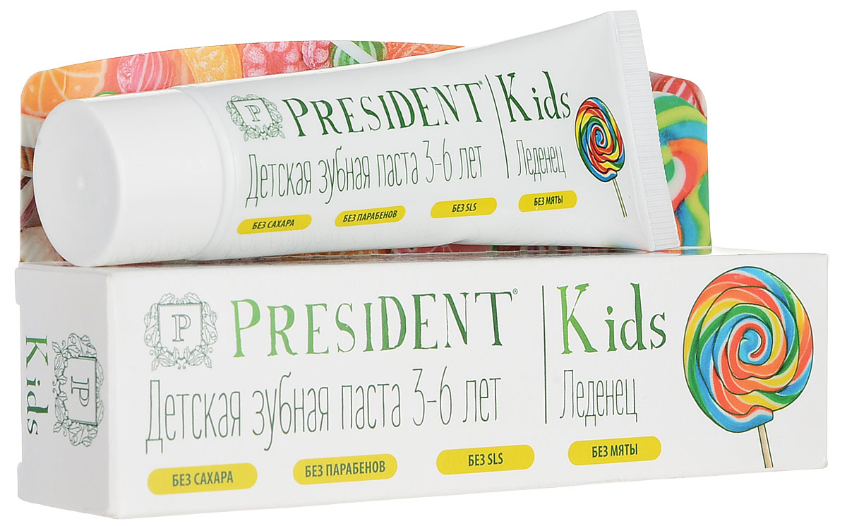 President Kids Lollipop от 3 до 6 лет детская зубная паста со вкусом леденца (со фтором), 50 мл18029Детская зубная паста PRESIDENT Kids Lollipop от 3 до 6 лет обеспечивает длительный и эффективный уход за молочными и постоянными зубами. Стимулирует процесс реминерализации, предотвращает разрушение эмали и развитие кариеса. Содержание фторидов (500 ppm) соответствует рекомендациям Всемирной Организации Здравоохранения. Оригинальный вкус и аромат леденца превращает чистку зубов в удовольствие! БЕЗ САХАРА, ПАРАБЕНОВ, SLS, МЯТЫ