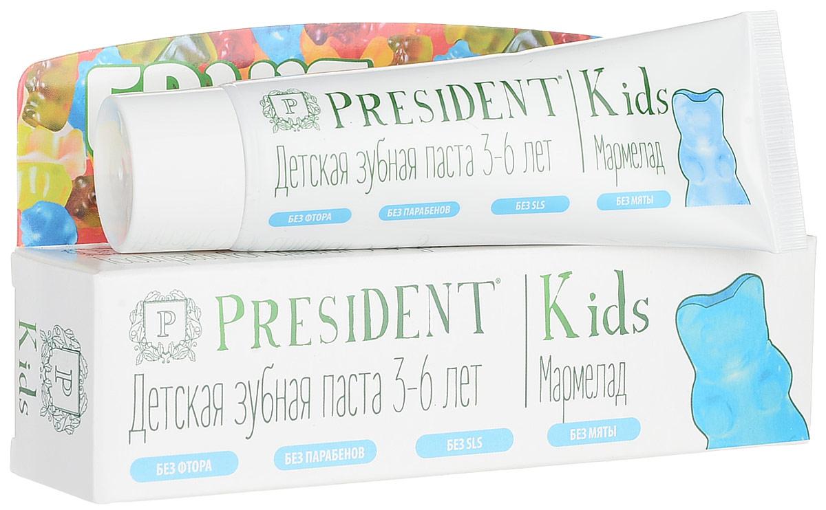 President Kids Fruit Jelly от 3 до 6 лет детская зубная паста со вкусом мармелада (без фтора), 50 мл18028Детская зубная паста PRESIDENT Kids Fruit Jelly от 3 до 6 лет обеспечивает длительный и эффективный уход за молочными и постоянными зубами. Стимулирует процесс реминерализации, предотвращает разрушение эмали и развитие кариеса. Оригинальный вкус и аромат мармеладок превращает чистку зубов в удовольствие! БЕЗ ФТОРА, ПАРАБЕНОВ, SLS, МЯТЫ